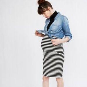 Striped knit maternity pencil skirt